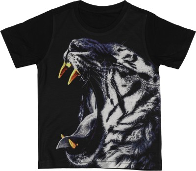 Wear Your Mind Boys Printed Cotton, Polyester T Shirt(Black, Pack of 1) Flipkart