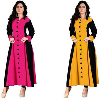Morpich Fashion Casual Self Design Women Kurti(Pack of 2, Multicolor)