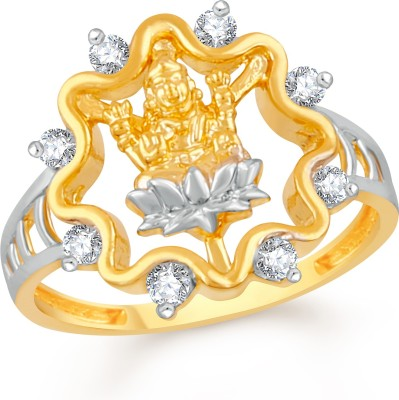 Divastri Lotus Lakshmi Devi Brass, Alloy Cubic Zirconia Gold-plated Plated Ring