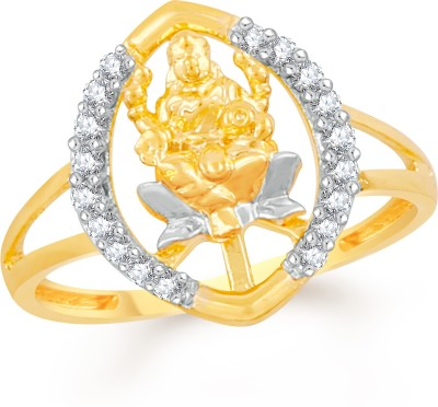 Divastri Oval Design Mahalakshmi Brass, Alloy Cubic Zirconia Gold-plated Plated Ring