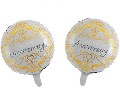 AMFIN Printed Happy Anniversary Round Foil Balloons Balloon(Multicolor, Pack of 2)