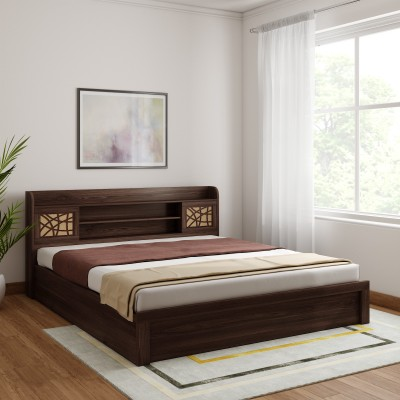 HomeTown Alex Engineered Wood Queen Box Bed(Finish Color -  Dark Walnut)