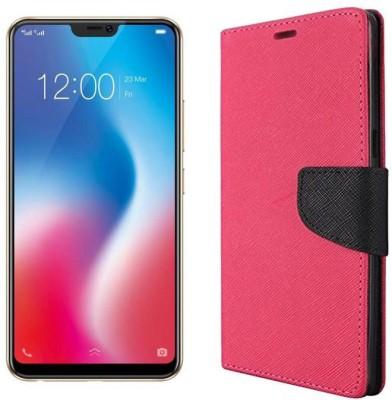 Unirock Wallet Case Cover for Vivo V9 (Pearl Black (Golden Line), 64 GB)(Pink, Dual Protection)
