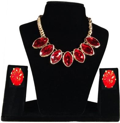 customjewellery Alloy Jewel Set(Red, Gold)