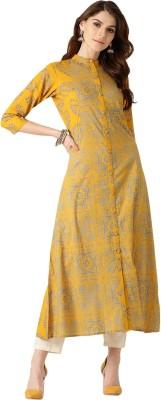 Ayan Women Floral Print A-line Kurta(Yellow, Yellow)