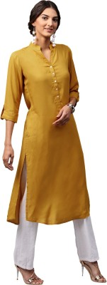 Libas Women Solid Straight Kurta(Yellow)