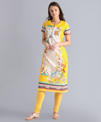 Biba Women Printed Straight Kurta(White, Yellow) at flipkart