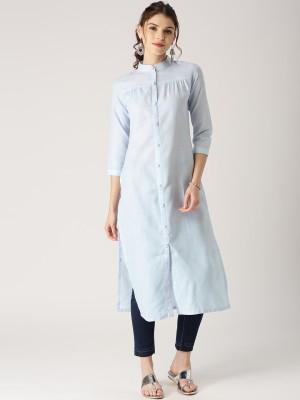 Libas Women Solid Pathani Kurta(Blue)