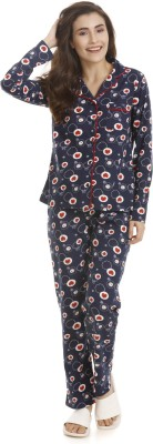 Zivame Women's Printed Blue Top & Pyjama Set