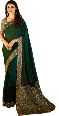 Bollywood Designer Floral Print Bollywood Georgette Saree(Green)