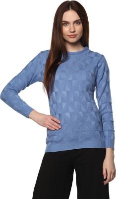 Modeve Argyle Round Neck Casual Women Blue Sweater