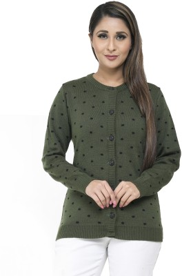Modeve Self Design Round Neck Casual Women Green Sweater