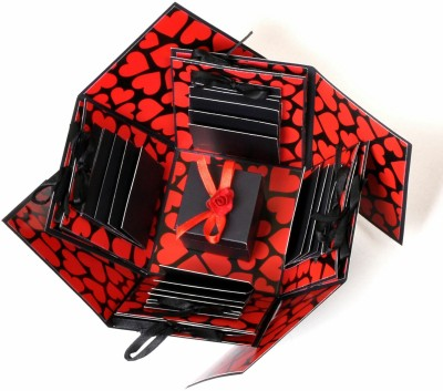Crafted with passion Explosion Box for birthday / Anniversary /valentines gift set Greeting Card(Red and black, Pack of 1)