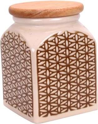 Scrafts Square Design Green Ceramic Jar multipurpose Chutney/ Pickle/ Spices/Tea/Sugar/Coffee/Ketchup/Cereals ceramic/porcelain Storage container/ Jar/Urn/Canister/Box/Barni/Pot with air tight wooden lid For Kitchen accesories/ Dinning Table,  - 1000 ml Ceramic Tea Coffee & Sugar Container(Green)