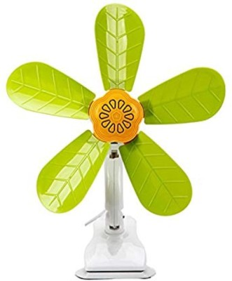 ZURU BUNCH Powerful Clip Fan Or Desk Fan with Fully Adjustable 360 Degree Rotation with 5 Removable Bldes :- Green Color Available 5 Blade Table Fan(Green)