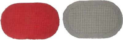 SWHF Cotton Bathroom Mat Red, Grey, Medium