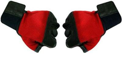 Zahuu Pro Grip Leather Fitness Gloves, Free Size (Red/Black) Gym & Fitness Gloves(Red and Black)