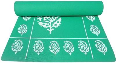 Fitness Mart Premium Floral Printed Green 6 mm Yoga Mat