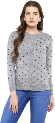 Modeve Self Design Round Neck Casual Women Grey Sweater