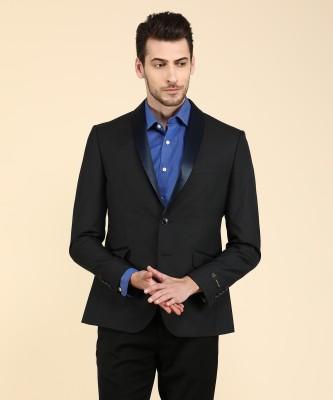 V Dot by Van Heusen Solid Tuxedo Style Party Men Blazer(Black)