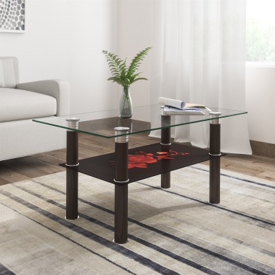 Woodness Jane Glass Coffee Table(Finish Color - Black with Red)