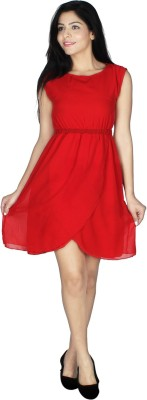 Crease   Clips Women Fit and Flare Red Dress