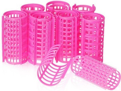Alankrita 8 PC Large Plastic Hair Curlers/Rollers and Stylers (Hair Curler) 30mm Hair Curler(Pink)