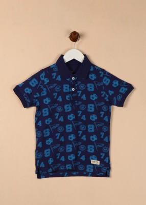 Allen Solly Junior Boys Printed Cotton T Shirt(Dark Blue, Pack of 2)