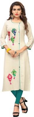 Libas Women Embroidered Straight Kurta(Brown)