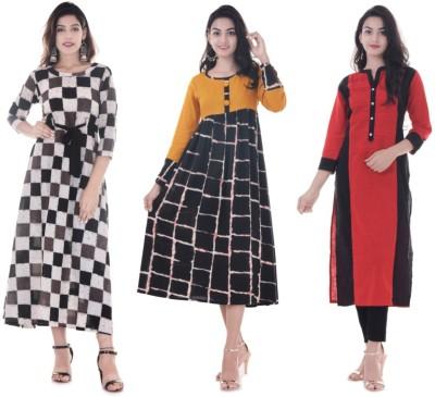 Blinkstar Casual Self Design Women Kurti(Pack of 3, Multicolor)
