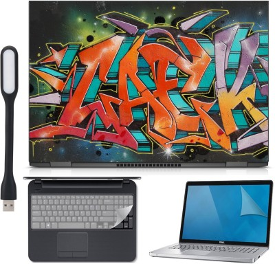 Ramiya 4in1 Laptop skin Combo Kit-artwork illustrator with Laptop skin, Screen Protector, KeyGuard and USB Light Combo Set(Multicolor)