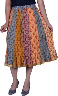 Pezzava Printed Women Straight Multicolor Skirt Pezzava Women's Skirts