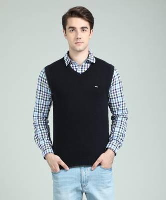 Numero Uno Solid V-neck Casual Men's Black Sweater
