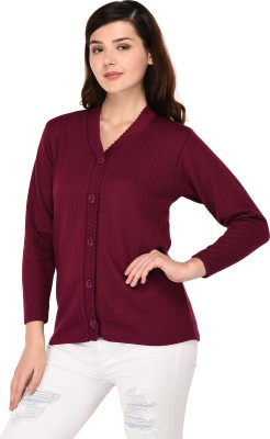 SatSun Solid V-neck Formal Women Purple Sweater