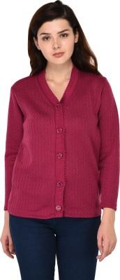 eWools Women Button Self Design Cardigan