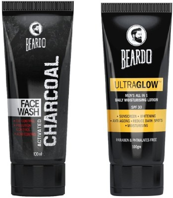 Beardo Activated Charcoal Face Wash and Ultraglow Face Lotion for Men(2 Items...