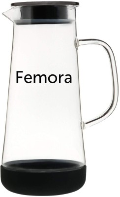 Femora Borosilicate Glass Jug with SS Metallic Lid-1500ml, Black Water Jug(1500 L) at flipkart