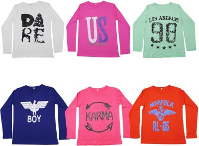 Diaz Boys Printed Cotton T Shirt(Multicolor, Pack of 6) Flipkart