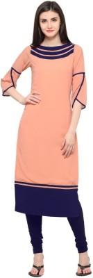 Shopping Queen Casual Solid Women Kurti(Pink)