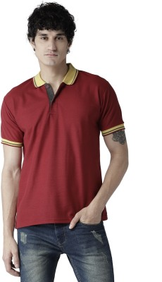 TSX Solid Men Polo Neck Maroon T-Shirt