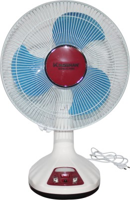 kingshan KL-F0092 Rechargeable With LED Light 500 mm 3 Blade Table Fan(White, Pack of 1)