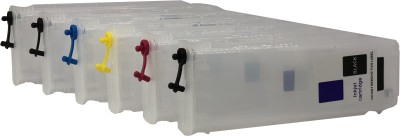 UV 727 (C/Y/M/PB/GY/MBK) EMPTY REFILLABLE CARTRIDGE FOR USE WITH DESIGN JET T 2500 PLOTTER WITHOUT CHIP Multi Color Ink Cartridge(Magenta, Cyan, Black, Yellow)