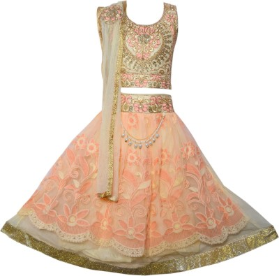 Sky Heights Girls Lehenga Choli Ethnic Wear Embroidered Lehenga Choli(Multicolor, Pack of 1) at flipkart