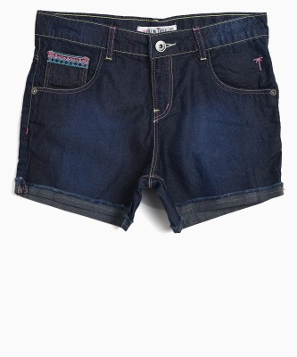 Gini & Jony Short For Girls Casual Solid Denim(Blue, Pack of 1)