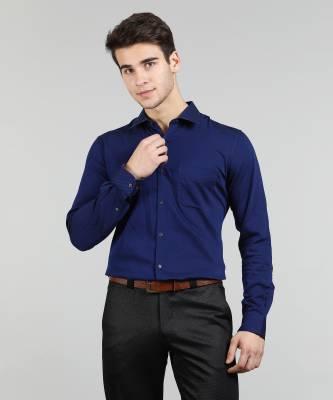 Peter England Men Self Design Formal Dark Blue Shirt