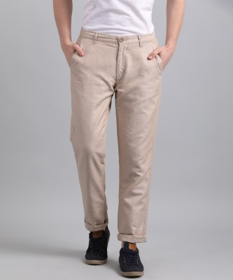 United Colors of Benetton Tapered Men Beige Trousers at flipkart