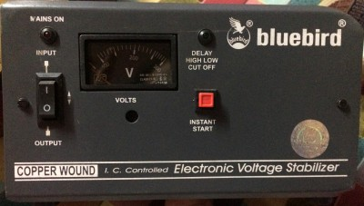 bluebird 0.5 KVA 80V Copper Wounded VOLTAGE STABILIZER Black, grey panel bluebird Voltage Stabilizers