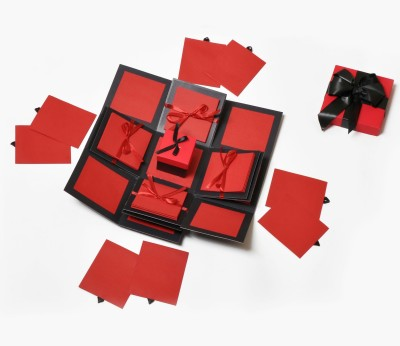Crafted with passion red drama Explosion Box for birthday anniversary love Greeting Card(Red and black, Pack of 1)