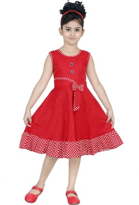 ULTRA TREND Girls Midi/Knee Length Casual Dress(Red, Sleeveless)