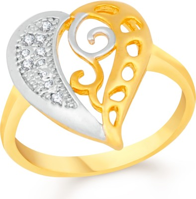 VK Jewels Dolphin Heart Brass, Alloy Cubic Zirconia Gold-plated Plated Ring